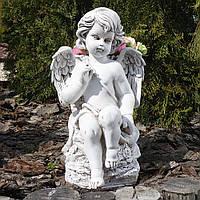 Садовая скульптура Ангел с корзиной светящийся 32 см