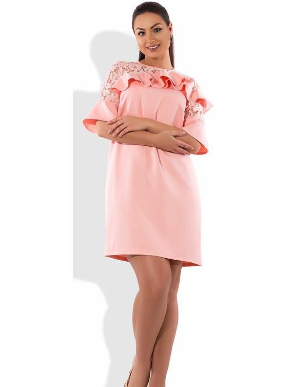 Коктейльное персиковое платье декор оборки размеры от XL ПБ-387