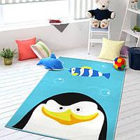Коврик для детской комнаты для мальчика Пингвин Penguin 100 х 130 см голубой Berni