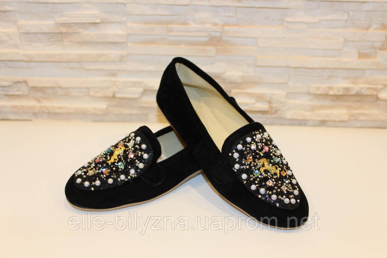 Туфли женские черные с камнями Т756