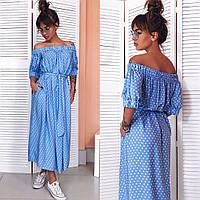 Женское платье в горошек  лето цвет Голубой Новинка