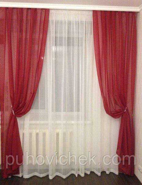 Красивые шторы в комплекте с тюлем готовые