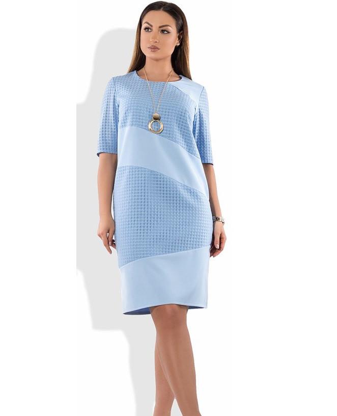 Красивое женское платье голубое с украшением размеры от XL ПБ-398