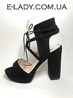 Босоножки женские черные замшевые на устойчивом каблуке и платформе