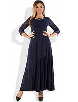 92452e84345d3a9 Красивое вечернее платье макси темно-синее размеры от XL ПБ-400