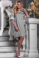 Нежное Легкое Платье на Лето с Кружевом Серое М-2XL, фото 1