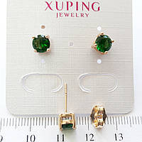 Серьги гвоздики с цирконием 5мм Xuping медзолото с832
