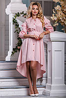 Очаровательное Коттоновое Платье со Шлейфом на Лето Светло-Розовое S-XL, фото 1