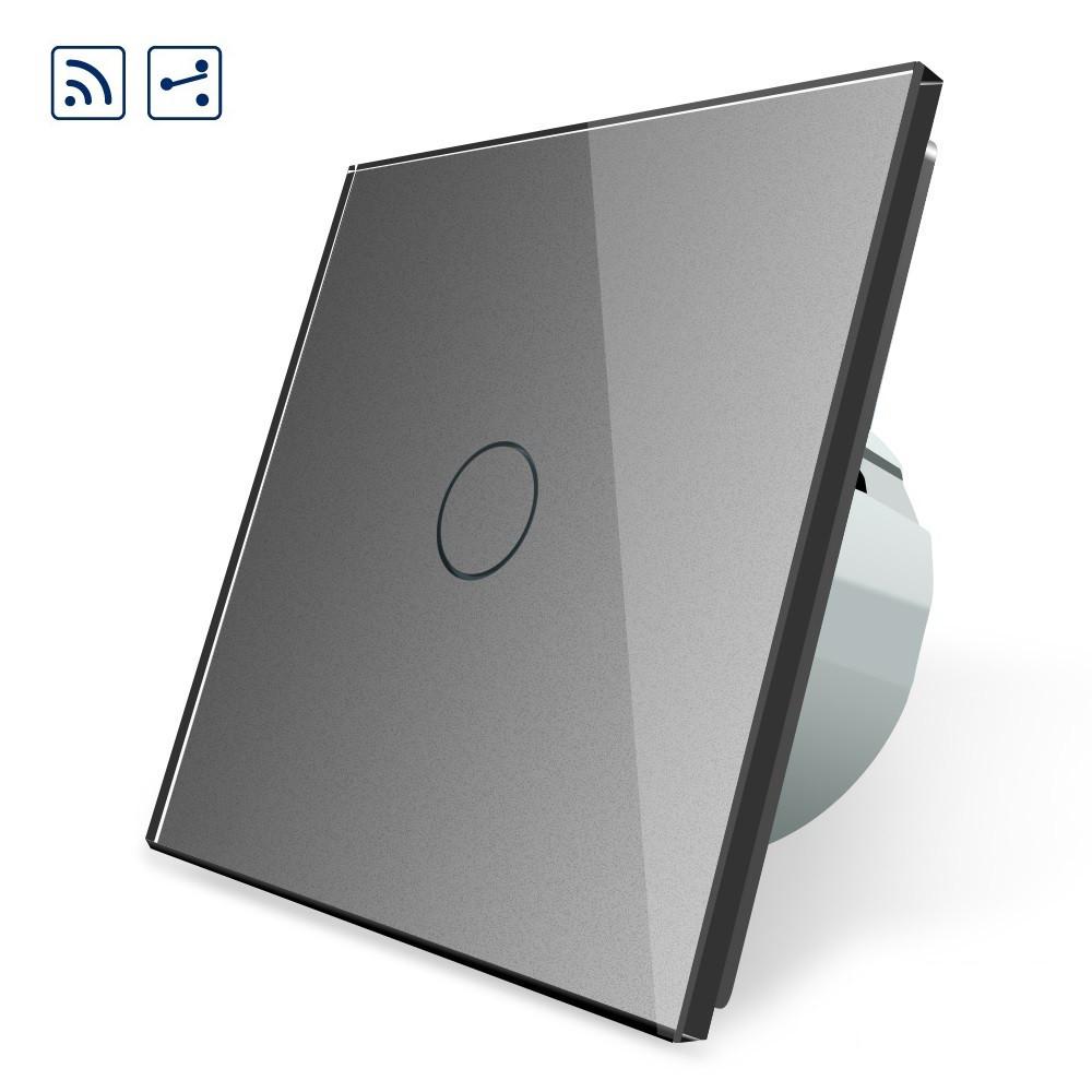 Сенсорный проходной выключатель Livolo с дистанционным управлением, цвет серый, стекло (VL-C701SR-15), фото 1