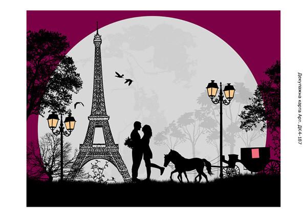 ДК4-187. Декупажна карта Романтика в Парижі