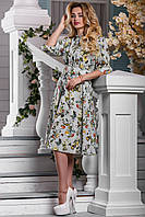Элегантное Платье на Лето с Цветочным Принтом Серое р.2XL, фото 1