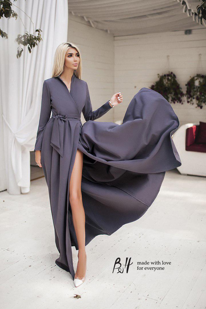 bbcd8e46b95 Женское платье в пол на запах с длинным рукавом. Цвета! - Интернет-магазин