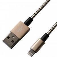 Дата кабель Grand-X USB - Lightning, MFI, YellowBlack/Gold, 1m (FL01YBG)