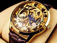 Мужские часы наручные goer skeleton, прозрачный стальной корпус, кожаный ремешок, gold/brown, механика