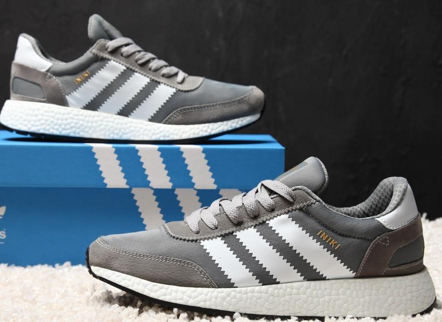 Кроссовки Adidas Iniki Runner grey. Живое фото. Топ качество! (Реплика ААА+)