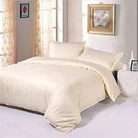Комплект постельного белья в полоску страйп-сатин ЕВРО цвет Шампань