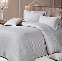 Серый Комплект постельного белья в полоску страйп-сатин ЕВРО простынь на резинке