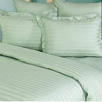 Мятный комплект постельного белья в полоску страйп-сатин ЕВРО простынь 240*260 на резинке