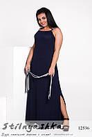 Платье морского стиля большого размера синее, фото 1