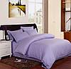 Лиловый комплект постельного белья в полоску страйп-сатин ЕВРО простынь на резинке