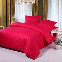 Комплект постельного белья в полоску страйп-сатин ЕВРО цвет Красный