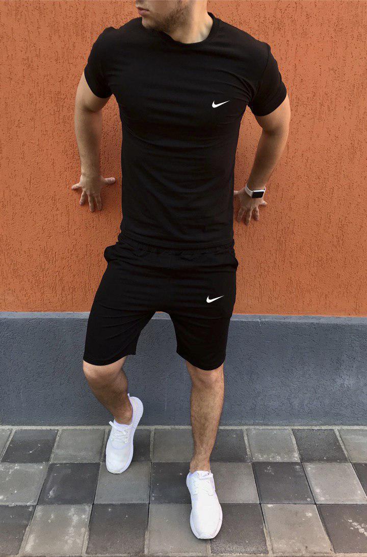 Мужской комплект футболка + шорты Nike чёрный (реплика)