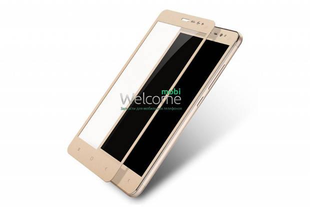 Стекло для XIAOMI Redmi Note 3 (0.3 мм, 2.5D, с олеофобным покрытием) gold