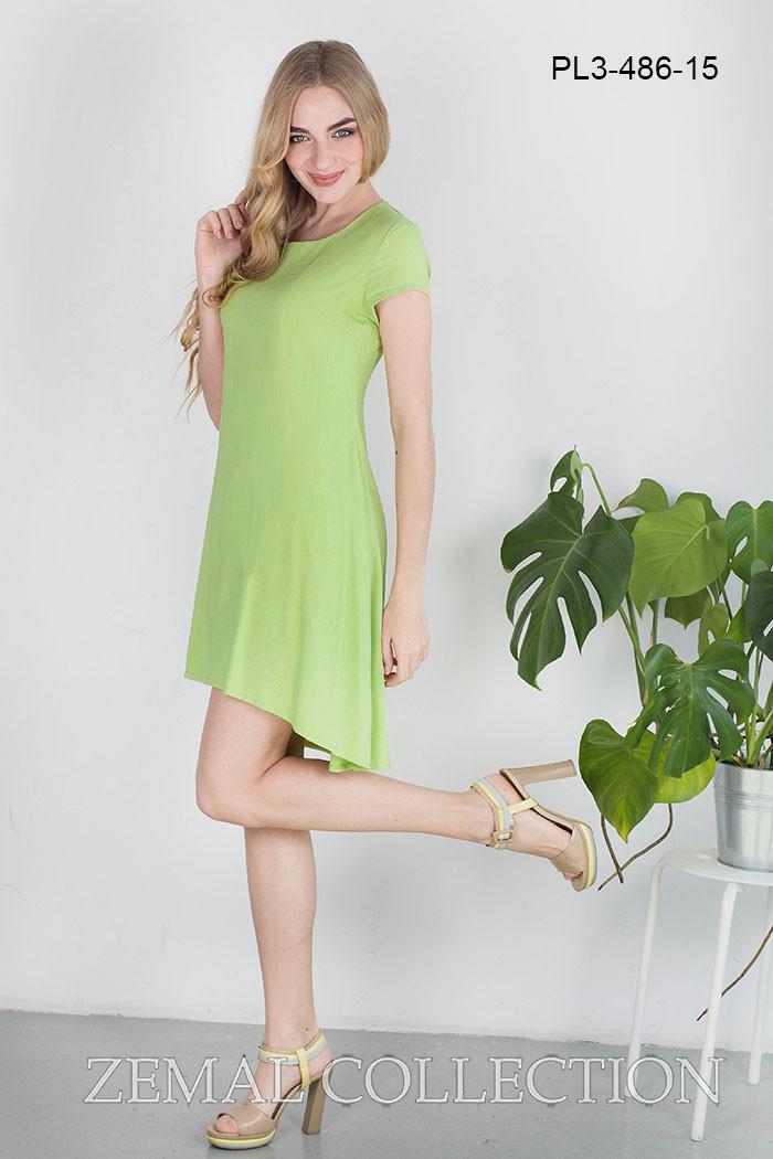 Свободное женское платье с коротким рукавом, длиннее сзади, салатовое -