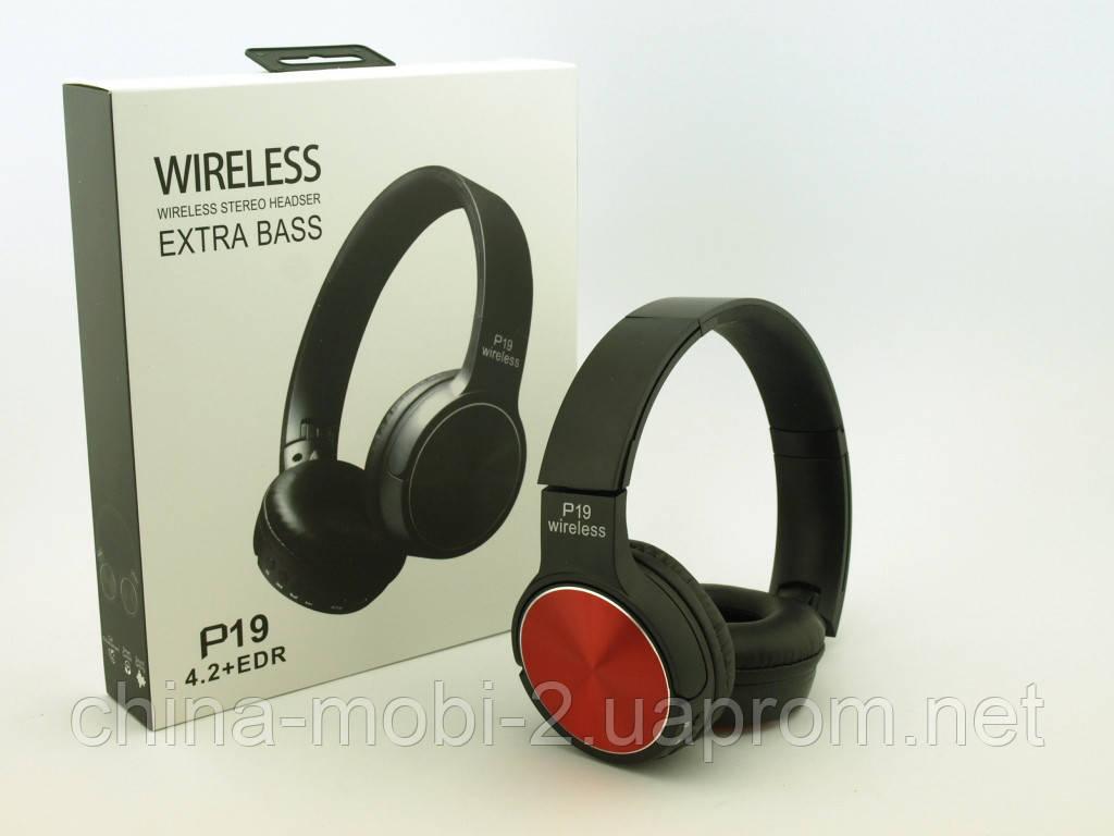 Bluetooth наушники P19 Wireless Headset Extra Bass с FM MP3, в стиле Sony, черные с красным