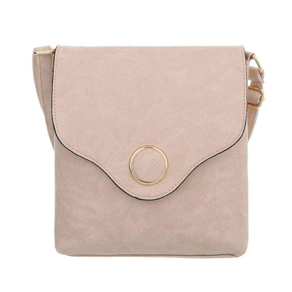 Женская сумка-месенджер с металлическим кругом из экокожи(Европа) Бежевый