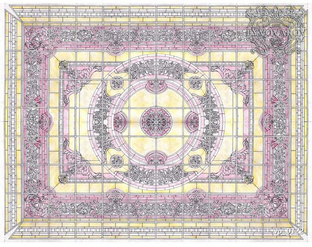 Витражные потолки Тиффани в холл