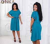 Легкое летнее штапельное платье в размерах 50-56