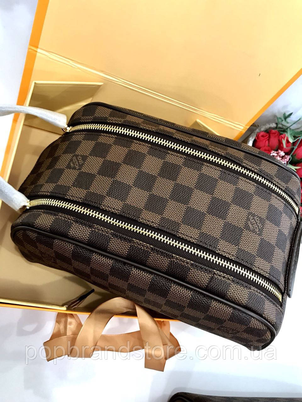85ebdf35bf32 Косметичка Louis Vuitton Damier Canvas коричневая (реплика) - Pop Brand  Store | брендовые сумки