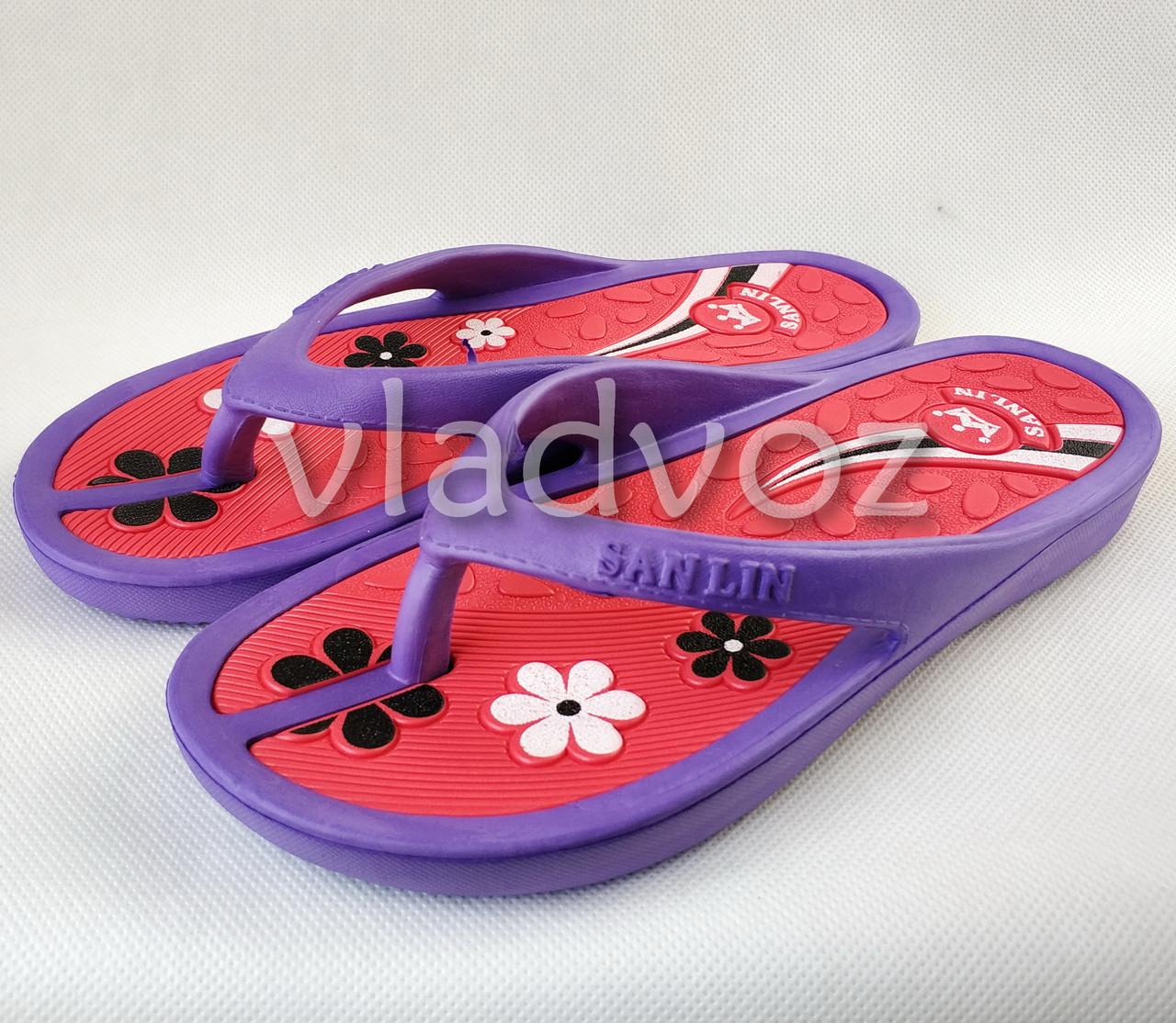 Женские сланцы шлепки вьетнамки шлепанцы пляжные фиолетовые 39р.