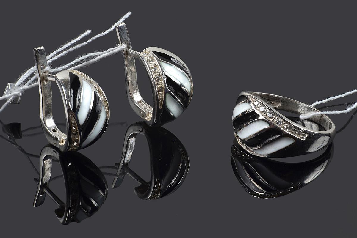 Серебряный комплект со вставками эмали Рандеву