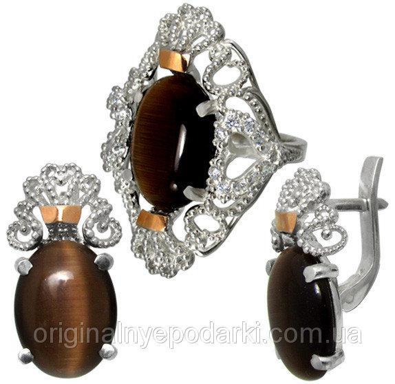 серьги и кольцо из серебра 925 пробы
