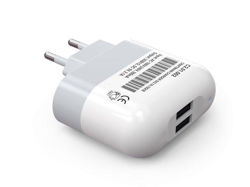 Зарядное устройство Craftmann для телефонов, смартфонов, планшетов (2,1A, 10,5W), 2 USB-выхода
