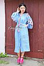 Вишите плаття бохо вишиванка льон етно стиль бохо шик, вишите плаття вишиванка плаття бохо блакитне плаття, фото 2