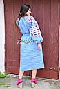 Вышитое платье  бохо вышиванка лен этно стиль бохо шик, вишите плаття вишиванка платье бохо голубое платье, фото 5