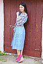 Вышитое платье  бохо вышиванка лен этно стиль бохо шик, вишите плаття вишиванка платье бохо голубое платье, фото 6