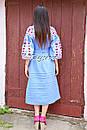 Вышитое платье  бохо вышиванка лен этно стиль бохо шик, вишите плаття вишиванка платье бохо голубое платье, фото 7