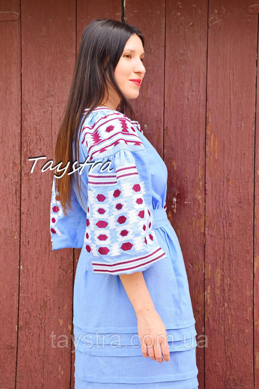 Вышитое платье  бохо вышиванка лен этно стиль бохо шик, вишите плаття вишиванка платье бохо голубое платье