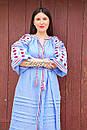 Вышитое платье  бохо вышиванка лен этно стиль бохо шик, вишите плаття вишиванка платье бохо голубое платье, фото 9