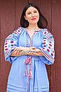 Вышитое платье  бохо вышиванка лен этно стиль бохо шик, вишите плаття вишиванка платье бохо голубое платье, фото 10