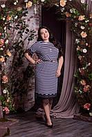 Нарядное платье с французским кружевом батал