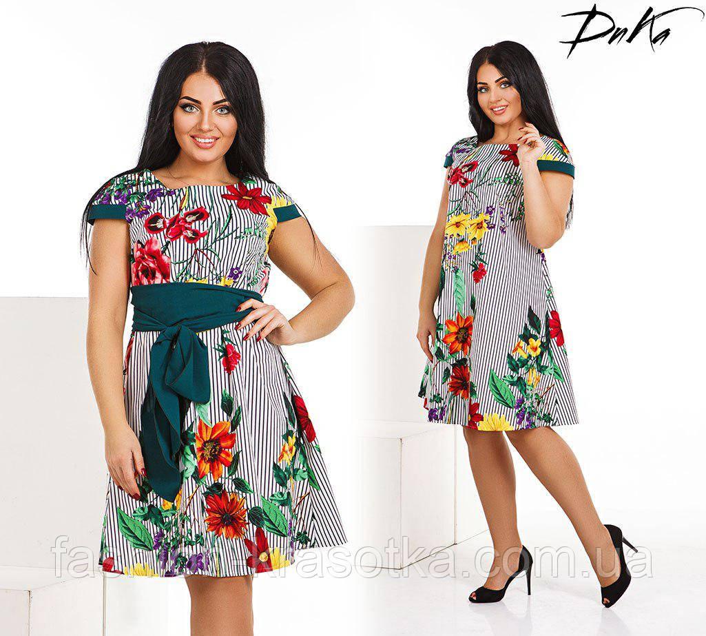 Платье батальное  летнее в размерах 50-56