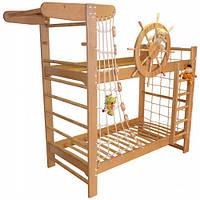 """Двухъярусная кровать """"Пират"""" из ясеня с крутящимся штурвалом"""