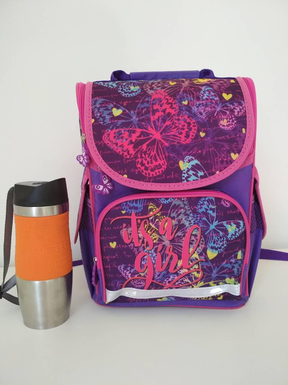 Рюкзак каркасный Бабочки для девочки 1-4 класса размер 33х26х16