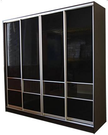 Шкаф-купе для гостинной №1 с комбинированным фасадом МДФ волна глянец + прозрачное стекло, фото 2