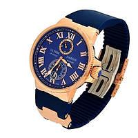 Часы для настоящих мужчин ulysse nardin maxi marine blue, индикация даты, сталь, каучуковый ремешок, механика